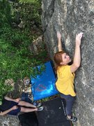 Shaina on Mission Direct (slab straight up the Trifecta Boulder, between Mission Possible and Tomcat)