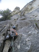 Rock Climbing Photo: P1 start. Handcrack through roof of p2 seen above....