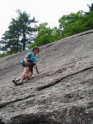 Rock Climbing Photo: S. Matz on P2 of Super Slab. The rope runs up the ...