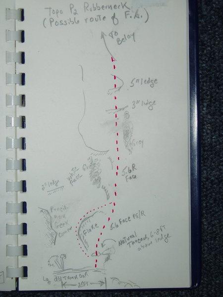 Rock Climbing Photo: P2 Topo for Rubberneck, as described in text.