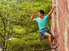 Rock Climbing Photo: John having a little fun on Upper D.