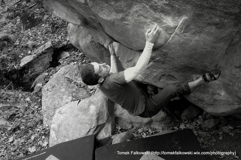 Rock Climbing Photo: Me on The Origin (v4).   This work by Tomasz B. Fa...