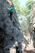 Rock Climbing Photo: heading up to set up a TR on cub-scout wall-