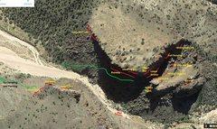 Rock Climbing Photo: Map Overview of Diablo Canyon Climbing Areas