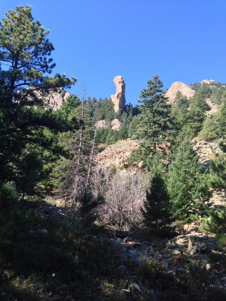 Rock Climbing Photo: There it is through the trees.