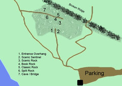 Rock Climbing Photo: Overview of south area with approximate locations ...
