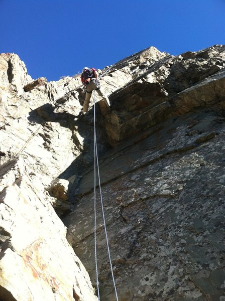 Rock Climbing Photo: The roof-crack on the second pitch. It looks way w...