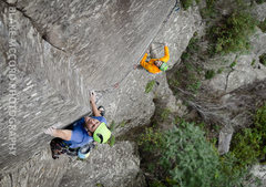 Rock Climbing Photo: Joel Unema sticking the dyno on the first ascent. ...
