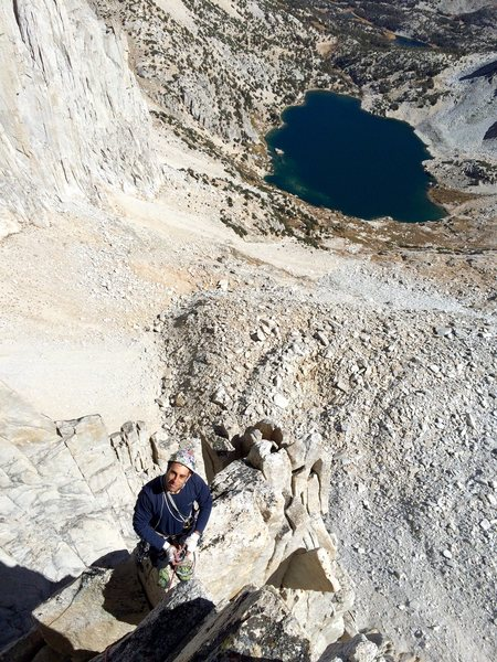 Rock Climbing Photo: Johnny K on an exposed knife-edge section (P5?) of...