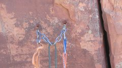 Rock Climbing Photo: Anchors on Shock and Awe Buttress