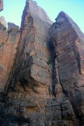 Rock Climbing Photo: View from the jungle. Route starts at the veg ledg...