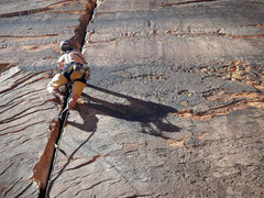 Rock Climbing Photo: Me leading 100' Hands. Such a great route.