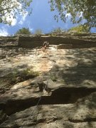 Rock Climbing Photo: The route wanders in and out of the left facing co...