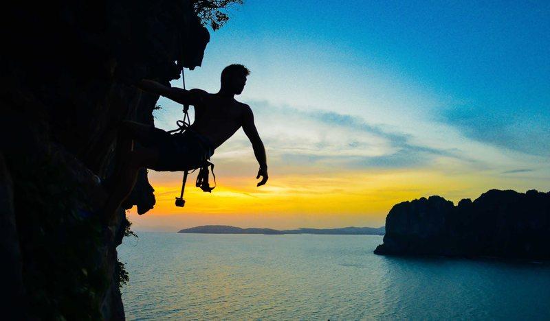 Rock Climbing Photo: Climbing the Taiwan wall in Railay, Thailand