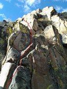 Rock Climbing Photo: The bottom starts at the pink crystal dike. Work u...