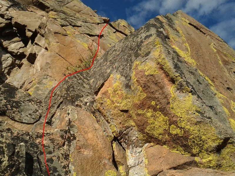 This is the top half more or less. Stay in the cracks to have easy moves, more on the side of the triangles for something harder. You must step out over shaft to complete top 20 ft. Trad, solo pro placement here makes me poop a little in my pants.