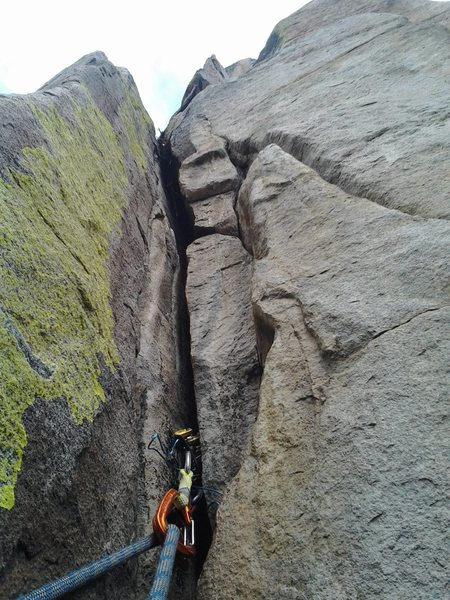 This is the crux crack. There are brutal pulls to be done.