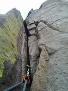 Rock Climbing Photo: This is the crux crack. There are brutal pulls to ...