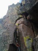 Rock Climbing Photo: At the top of the crux crack, the next set of move...