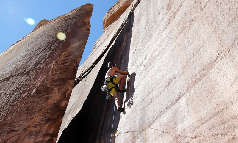 Me leading Short Cupped Hands. Such a  fun climb.