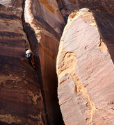 Rock Climbing Photo: J. Weingast laying back the crux of Dirty Martini.