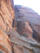 Rock Climbing Photo: Z. Harrison on the first pitch; entering the potat...