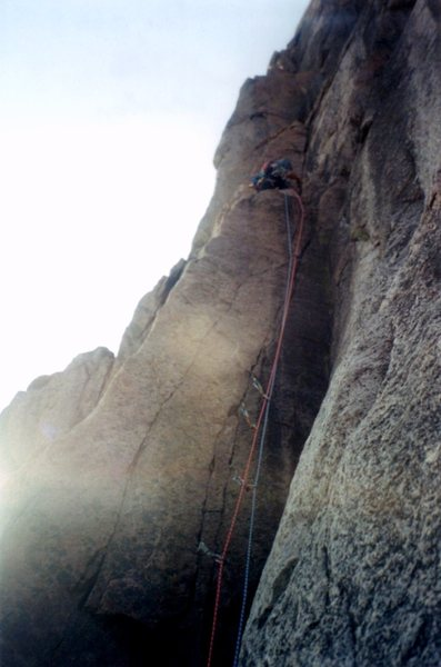 Not the best of photographs.  But for what it's worth, here is the 5.11 dihedral pitch on the Leviathan Route