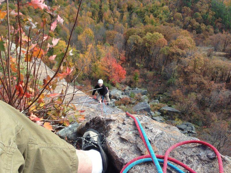 Rock Climbing Photo: Randy finishing the first pitch