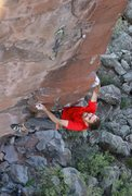 Rock Climbing Photo: Haj at the crux.