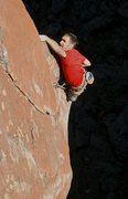 Rock Climbing Photo: High on the upper prow.