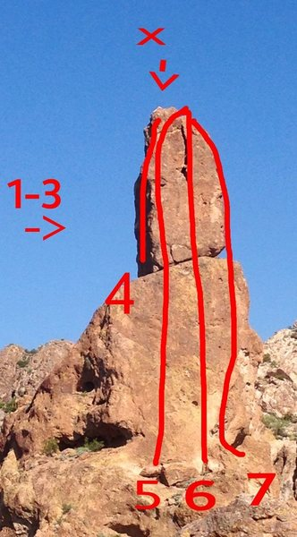 Topo Greever's Needle<br> <br> X- This block is suspect. And should be avoided. It sits at the top of Greevers Arête and School Aid. <br> A bolt was placed below and right to avoid using the crack for protection on GA. Crack has been used as a left hand side pull. <br> <br> 1- Gordon-Collins         5.4<br> 2- Lefty Loosey             5.4<br> 3- Righty Tighty             5.7<br> 4- School Aid                A-1<br> 5- Greevers Arête          5.8<br> 6- Lorazepam                5.8<br> 7- Leave it to Greevers  5.9