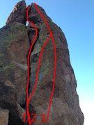 Rock Climbing Photo: North side  1. Gordon Collins.  5.4 2. Lefty Loose...