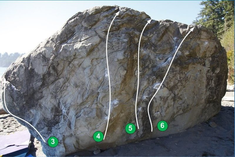Rock Climbing Photo: Big Fat Beach boulder - Forest side Topo