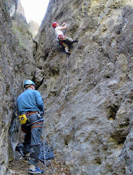 Rock Climbing Photo: Into the tricky bit.