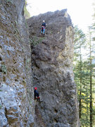 Rock Climbing Photo: Truman near the top.