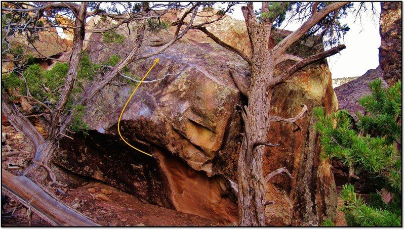 Rock Climbing Photo: Crossing the Pretend problem beta.