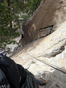 Rock Climbing Photo: Looking down pitch 1 from the belay on Wild Will's...