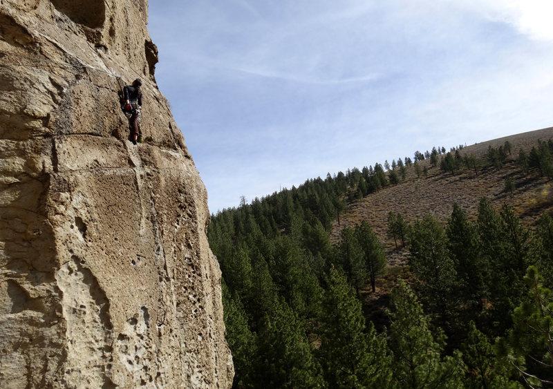 Rock Climbing Photo: Finishing up the 2nd pitch.