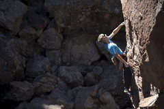 Rock Climbing Photo: Ed Strang shaking out during the onsight first asc...