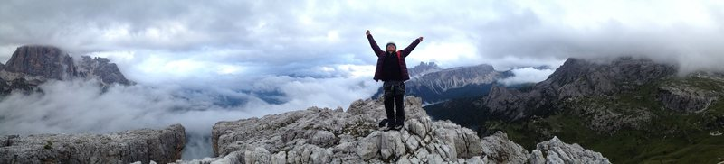 Cinque Torri south summit after climbing Myriam. August 2014.
