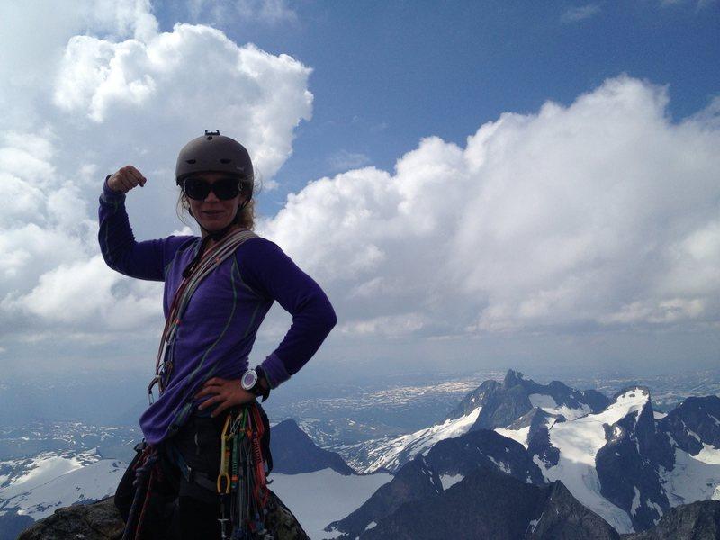 Sara on summit of Storen, Jotunheimen Norway. July 2014.