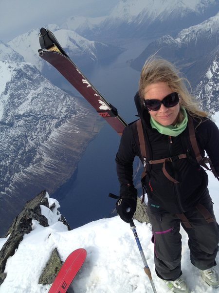 Sara on summit of Slogen, Sunmøresalpene, Norway. March 2014