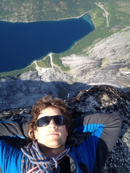 Looking down from the summit of Stetind, Norway. June 2013.