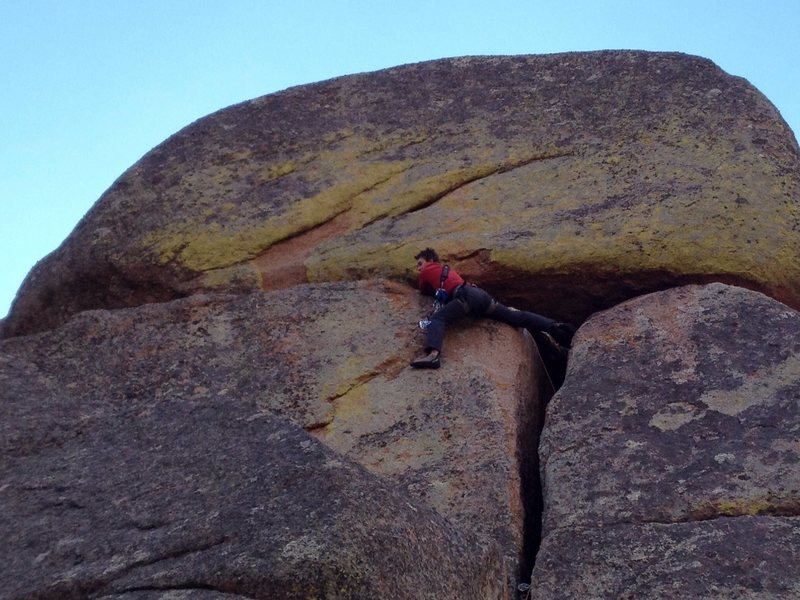 Trying to avoid putting my hands in the giant pile of bat shit at the traverse.