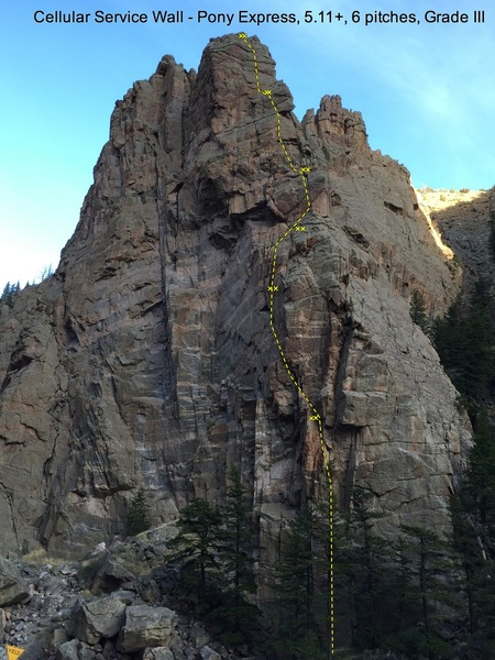 Pony Express, 5.11+, Grade III, 6 pitches, 450 feet