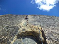 Rock Climbing Photo: Leah Pappajohn leading last pitch