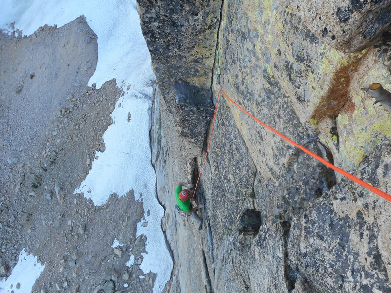 Sol Wertkin finishing up pitch 5 of Independence Route.