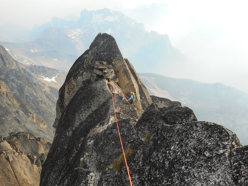 Rock Climbing Photo: Leah Pappajohn on the last pitch in smokey summert...