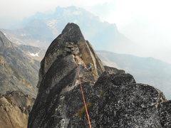 Rock Climbing Photo: Leah Pappajohn on the last pitch in smokey summert...