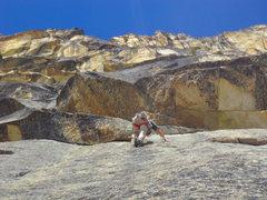 Rock Climbing Photo: Chris Croft leading pitch 2